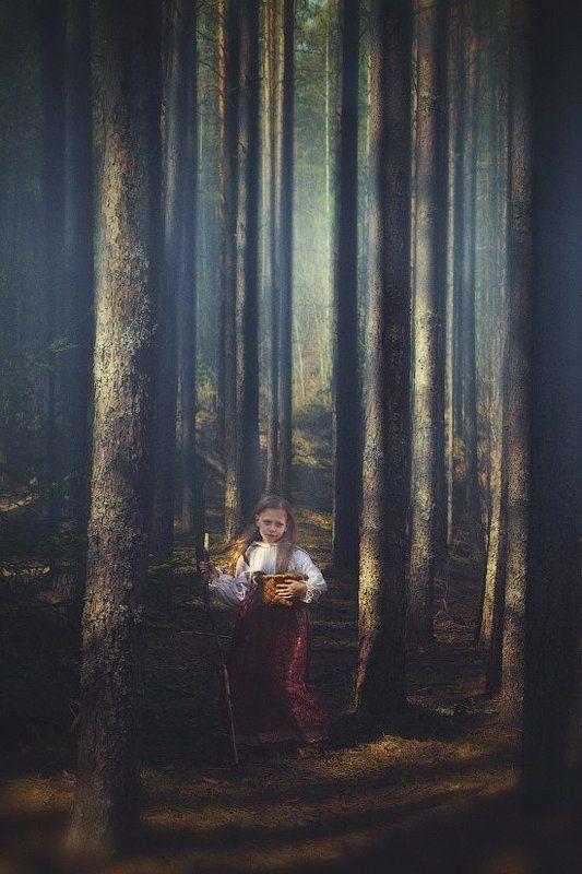 лес, девочка, история, сказка, дерево, корзинка, ягоды, посох, одежда, русская, dyadyavasya По ягодыphoto preview