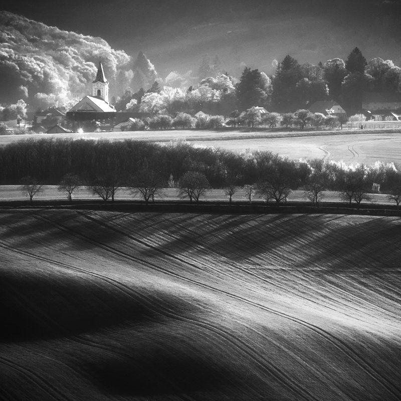 landscape, architecture, bw, monochrome, light, tree, nature, church Moravian churchphoto preview