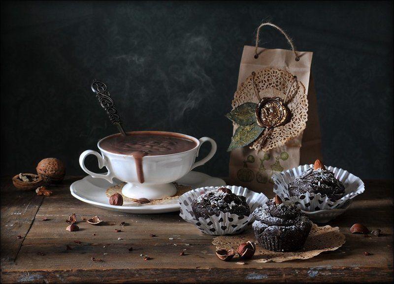 натюрморт, шоколад, маффины Шоколадные маффиныphoto preview