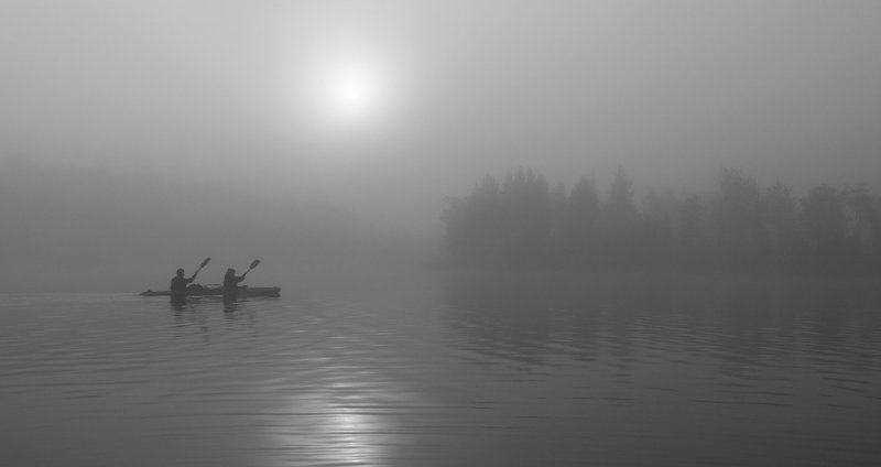 байдарка, туман, озеро, карелия, рассвет В туманеphoto preview