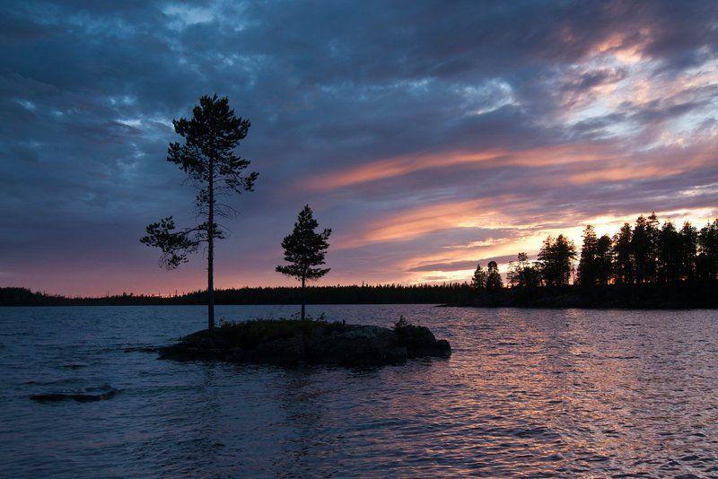 карелия, озеро, остров, закат, сосны Большая и маленькаяphoto preview
