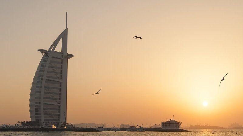 дубай, оаэ, путешествие, парус, закат Burj Al Arab - my versionphoto preview