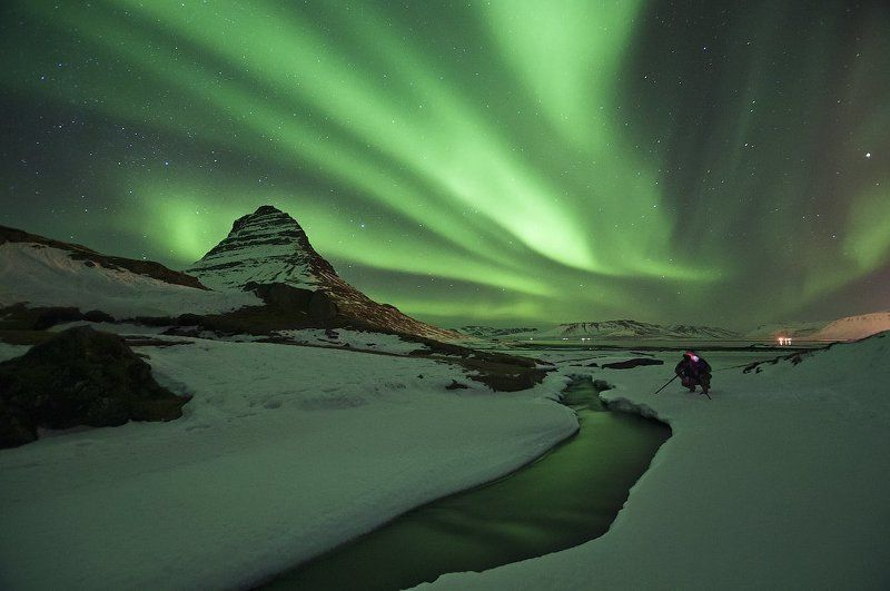 iceland, kirkjufell, grundafjordur midnight dancer #3photo preview